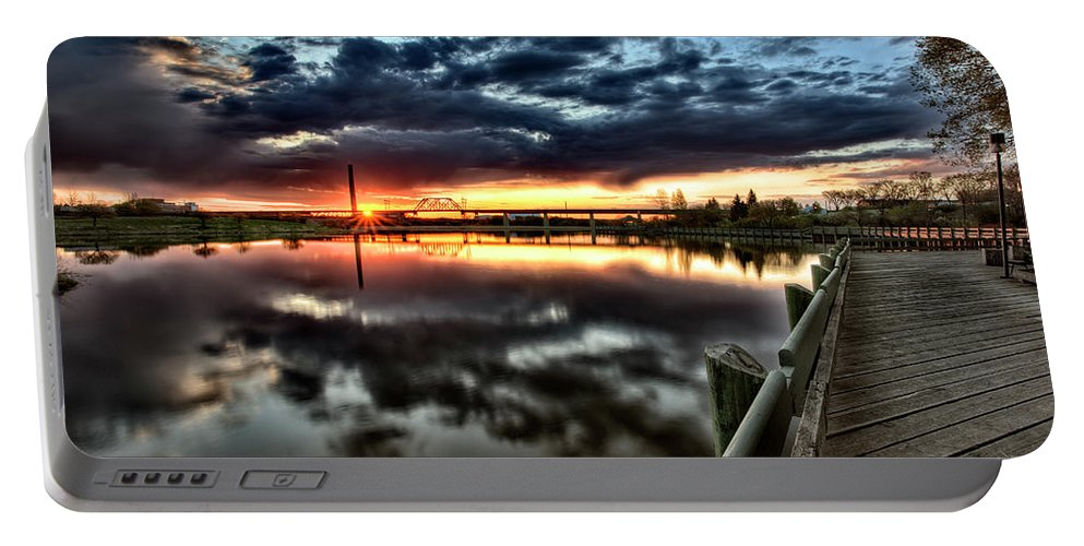 Reflection Portable Battery Charger featuring the digital art Wakamaw Valley Sunrise by Mark Duffy