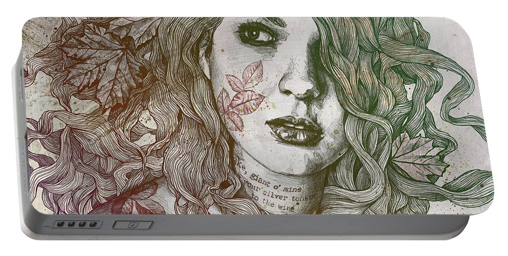 Graffiti Portable Battery Charger featuring the drawing Wake - Autumn - Street Art Woman With Maple Leaves Tattoo by Marco Paludet