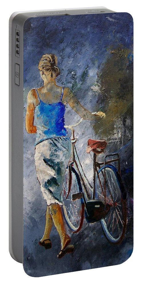 Girl Portable Battery Charger featuring the painting Waking Aside Her Bike 68 by Pol Ledent