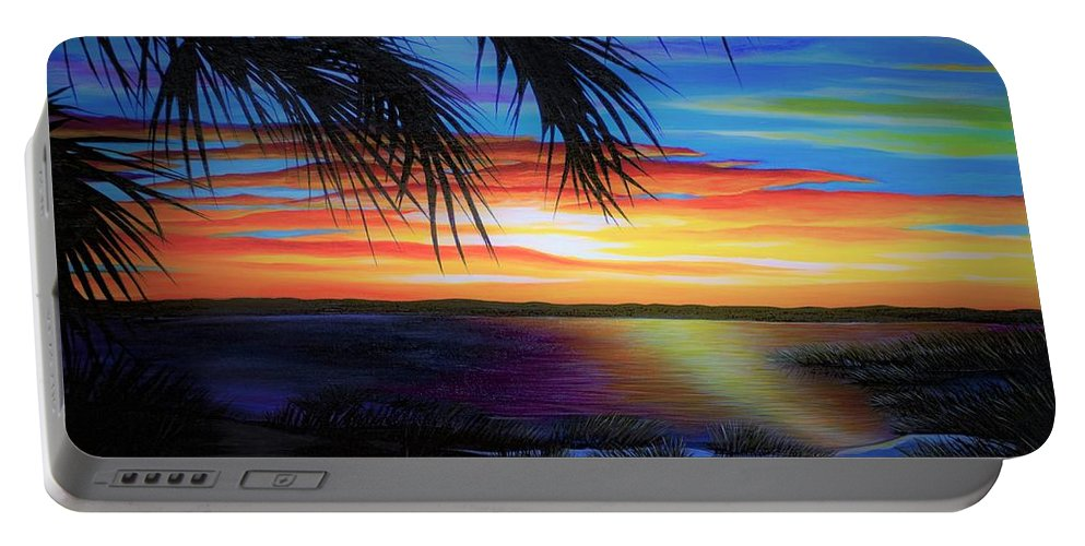 Sunrise Portable Battery Charger featuring the painting Wakulla Beach Morning by Rachel McClure