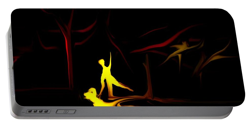 Abstract Digital Painting Portable Battery Charger featuring the digital art Walk In The Dog Park by David Lane