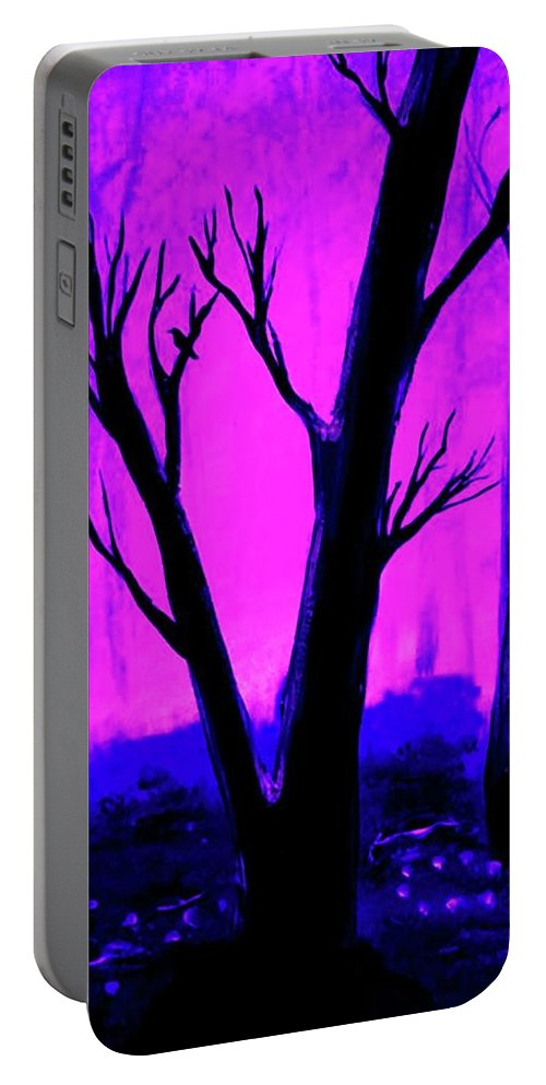Purple Portable Battery Charger featuring the painting Walk Into The Light by Krista May