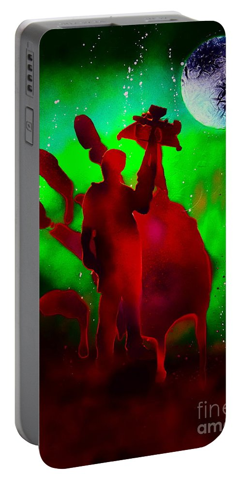 Justin Moore Portable Battery Charger featuring the painting Walking Dead Daryle by Justin Moore