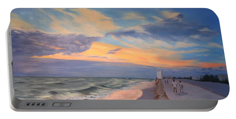 Seascape Portable Battery Charger featuring the painting Walking On The Beach At Sunset by Lea Novak