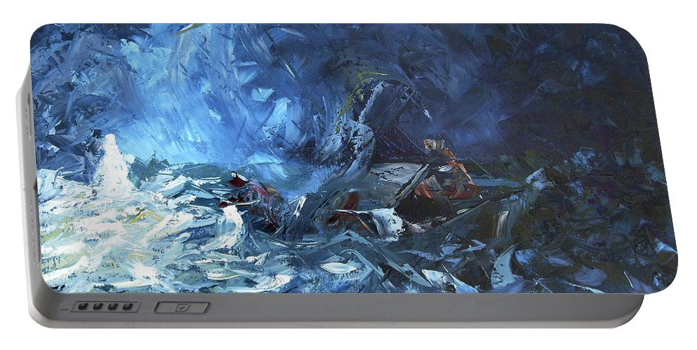 Abstract Portable Battery Charger featuring the painting Walking On Water by Lewis Bowman
