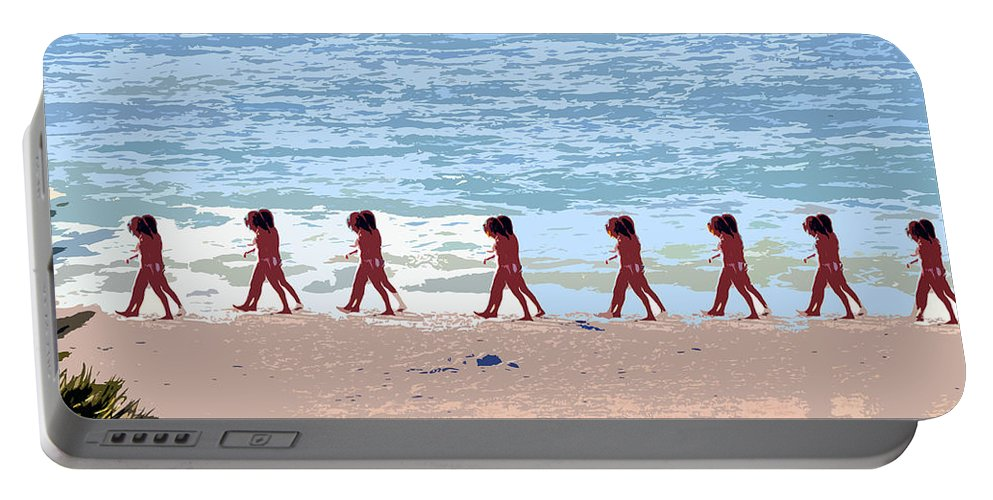 Pop Art Portable Battery Charger featuring the painting Walking The Beach by David Lee Thompson