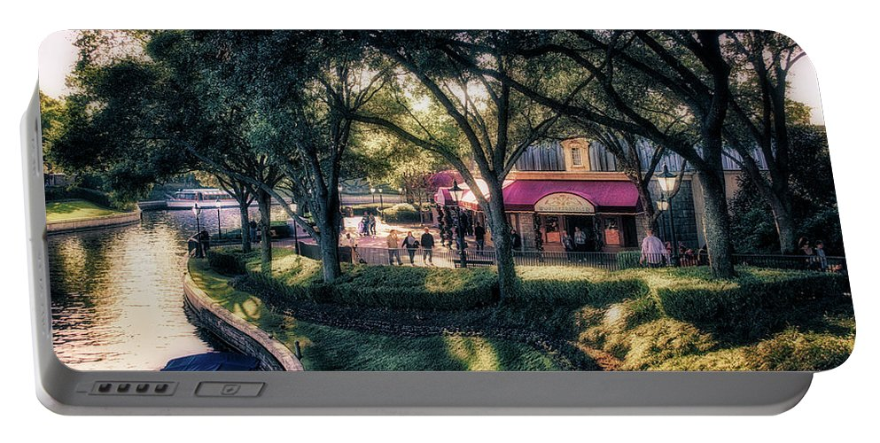 Epcot Portable Battery Charger featuring the photograph Walking The International Gateway Walt Disney World by Thomas Woolworth