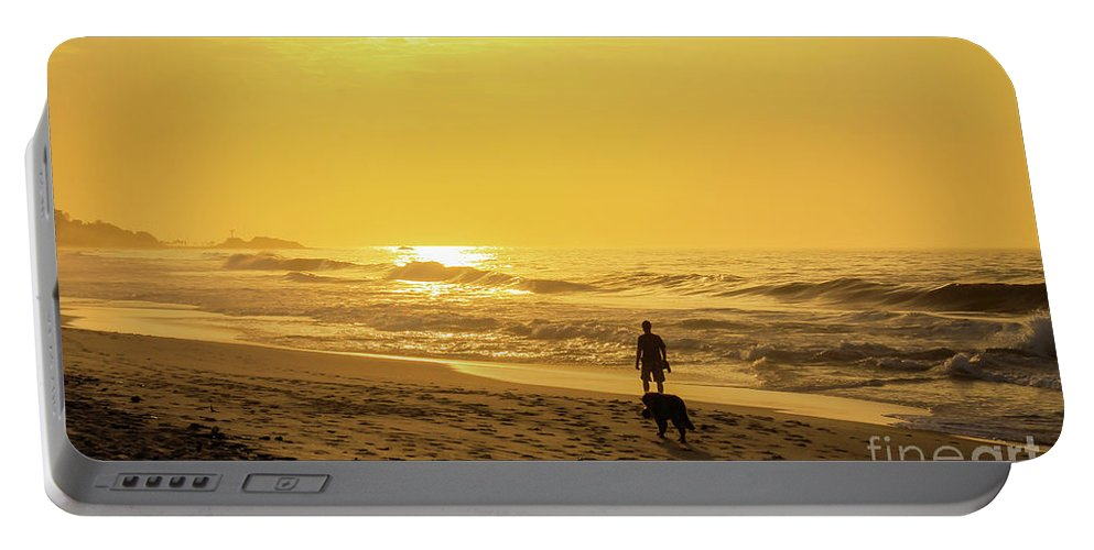 Sand Portable Battery Charger featuring the photograph Walking With My Best Friend by Mao Lopez