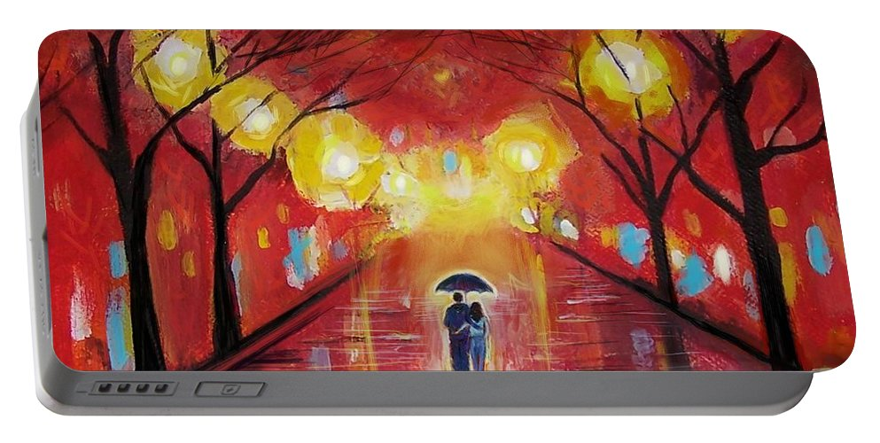 Couple Portable Battery Charger featuring the painting Walking With My Love by Leslie Allen