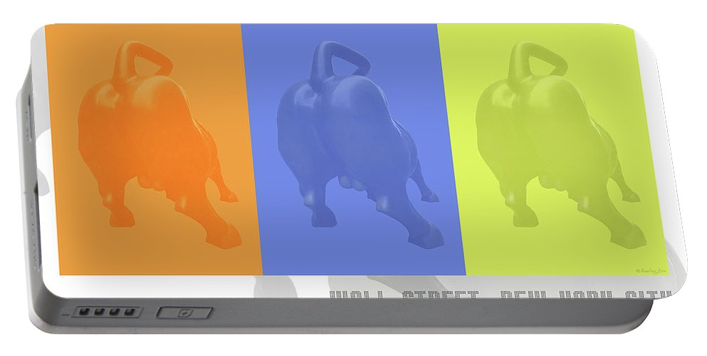 Financial Portable Battery Charger featuring the digital art Wall Street Bull by Xueling Zou