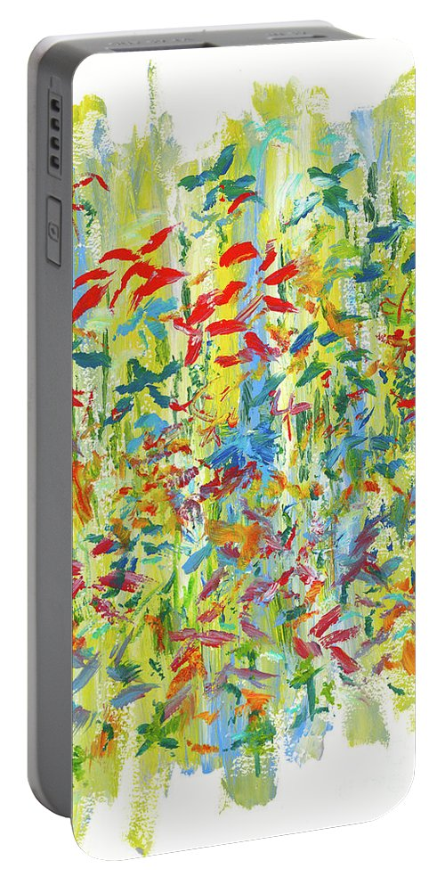 Flowers Portable Battery Charger featuring the painting Wallflowers by Bjorn Sjogren