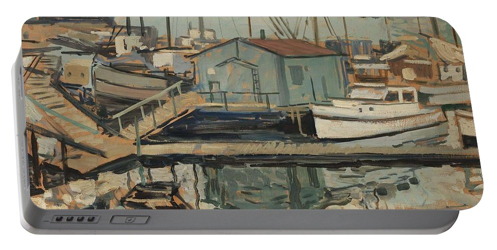 Art Portable Battery Charger featuring the painting Walter E Schofield 1867-1944 Dock With Shed by Artistic Panda