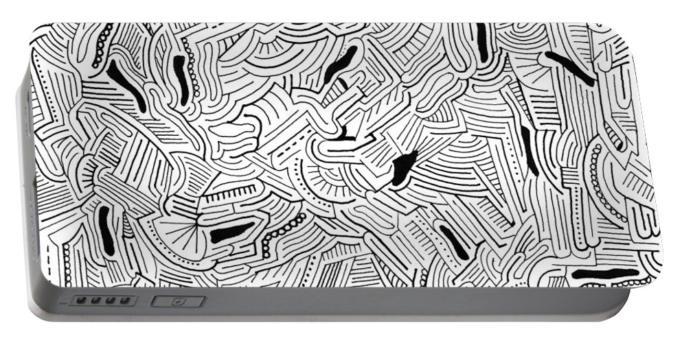 Mazes Portable Battery Charger featuring the drawing Wandering by Steven Natanson