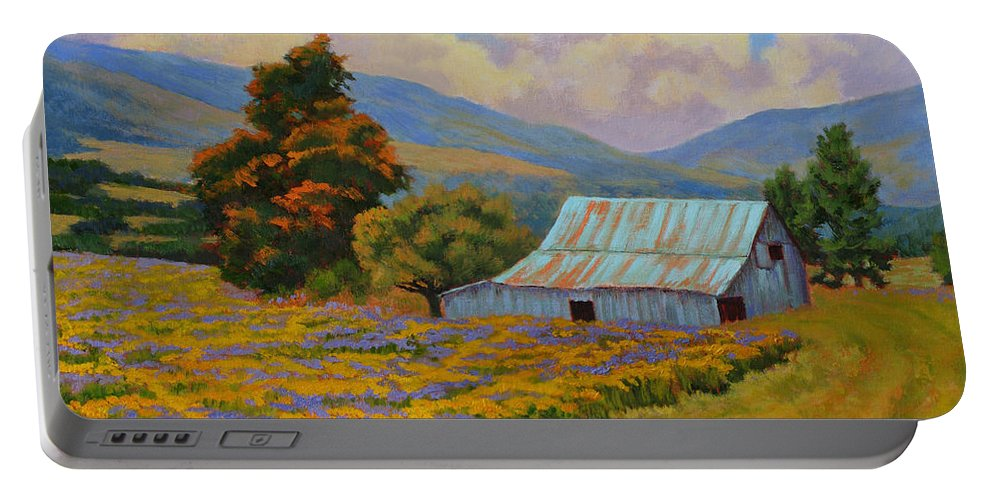 Landscape Portable Battery Charger featuring the painting Waning Summer by Keith Burgess
