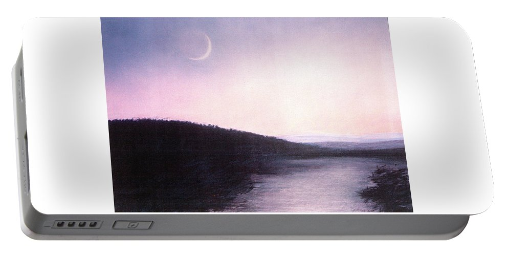 Waning Winter Moon Portable Battery Charger featuring the painting Waning Winter Moon by Maryanna Bock
