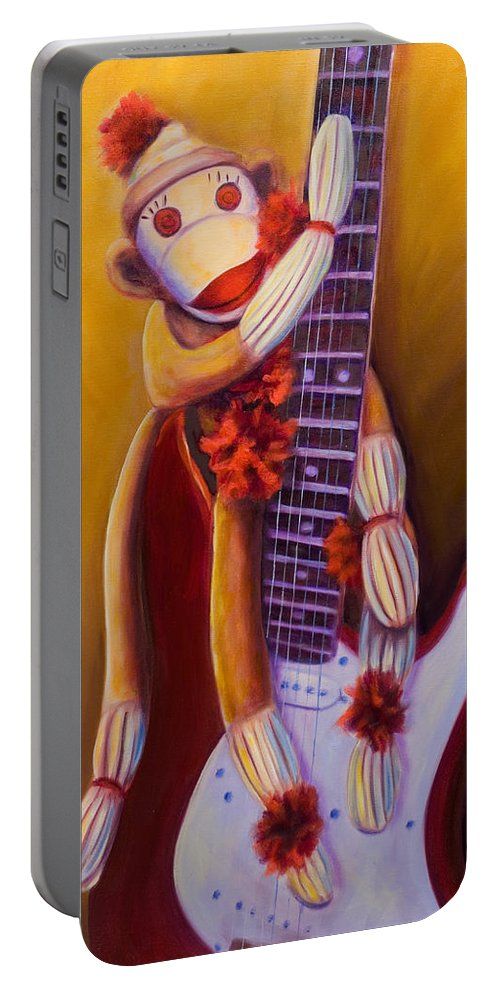 Monkey Portable Battery Charger featuring the painting Wanna Be A Rocker by Shannon Grissom