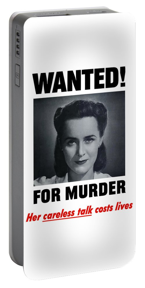 Wanted For Murder Portable Battery Charger featuring the painting Housewife Wanted For Murder - Ww2 by War Is Hell Store