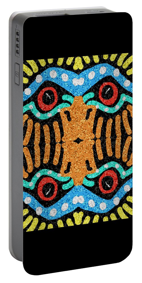 Mosaic Portable Battery Charger featuring the digital art War Eagle Totem Mosaic by Shelli Fitzpatrick