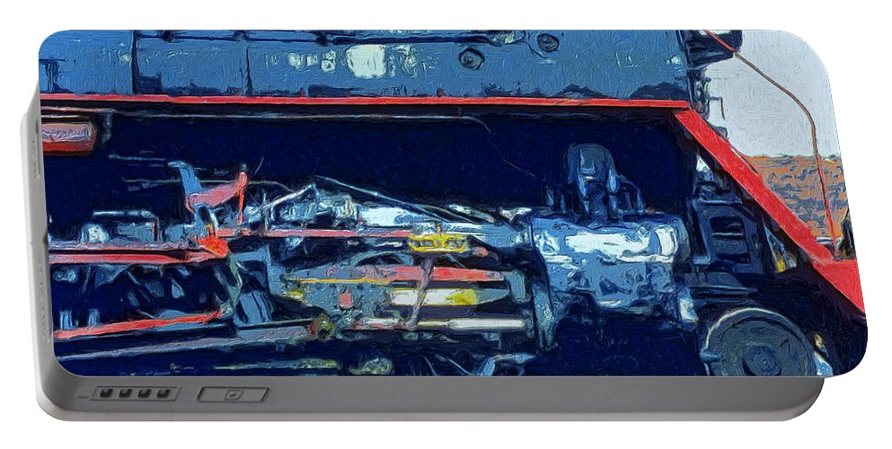 Locomotive Portable Battery Charger featuring the painting War Horse by Dominic Piperata