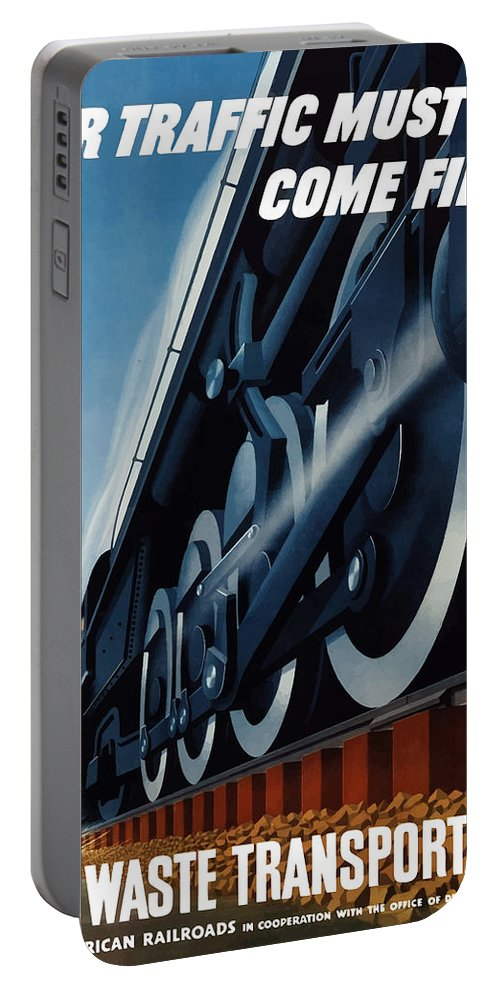 Trains Portable Battery Charger featuring the painting War Traffic Must Come First by War Is Hell Store