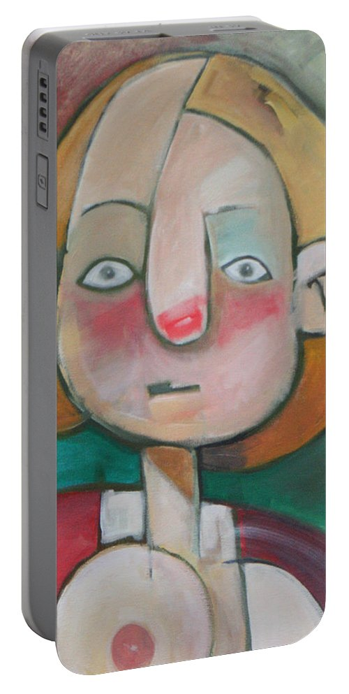 Woman Portable Battery Charger featuring the painting Wardrobe Malfunction by Tim Nyberg