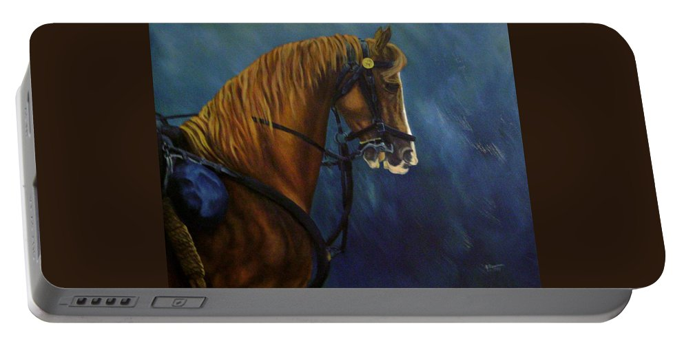 Civil War Portable Battery Charger featuring the painting Warhorse-us Cavalry by Joann Renner