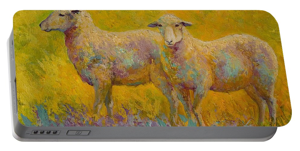 Llama Portable Battery Charger featuring the painting Warm Glow - Sheep Pair by Marion Rose