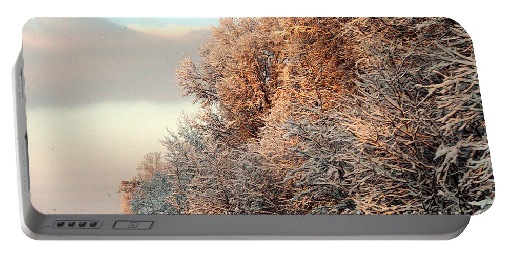 Clay Portable Battery Charger featuring the photograph Warm Light Snow by Clayton Bruster