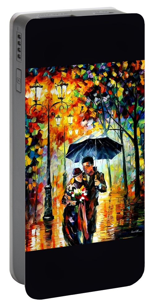 Afremov Portable Battery Charger featuring the painting Warm Night by Leonid Afremov