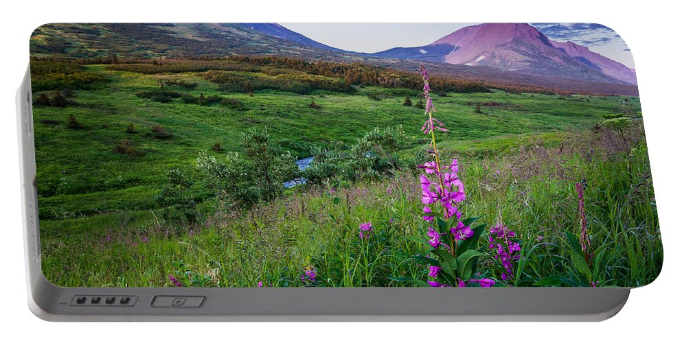 Alaska Portable Battery Charger featuring the photograph Warm Summer Night by Tim Newton