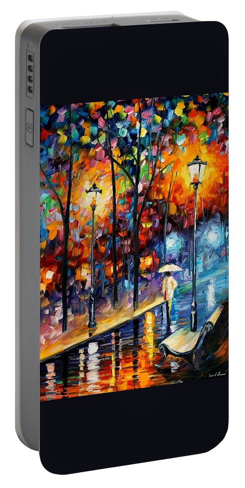 Afremov Portable Battery Charger featuring the painting Warm Winter by Leonid Afremov