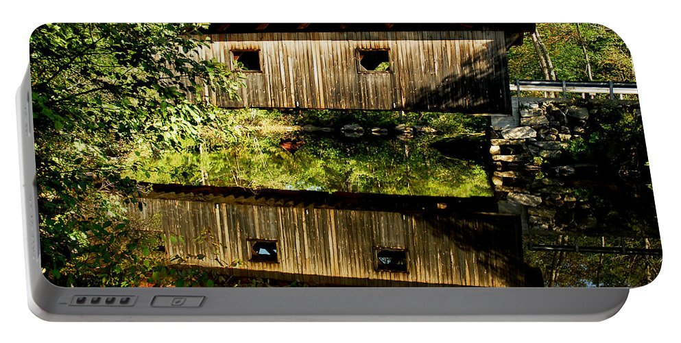 Covered Bridge Portable Battery Charger featuring the photograph Warner Covered Bridge by Greg Fortier