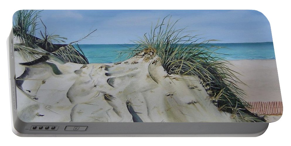 Lake Portable Battery Charger featuring the painting Warren Dunes by Mary Rogers