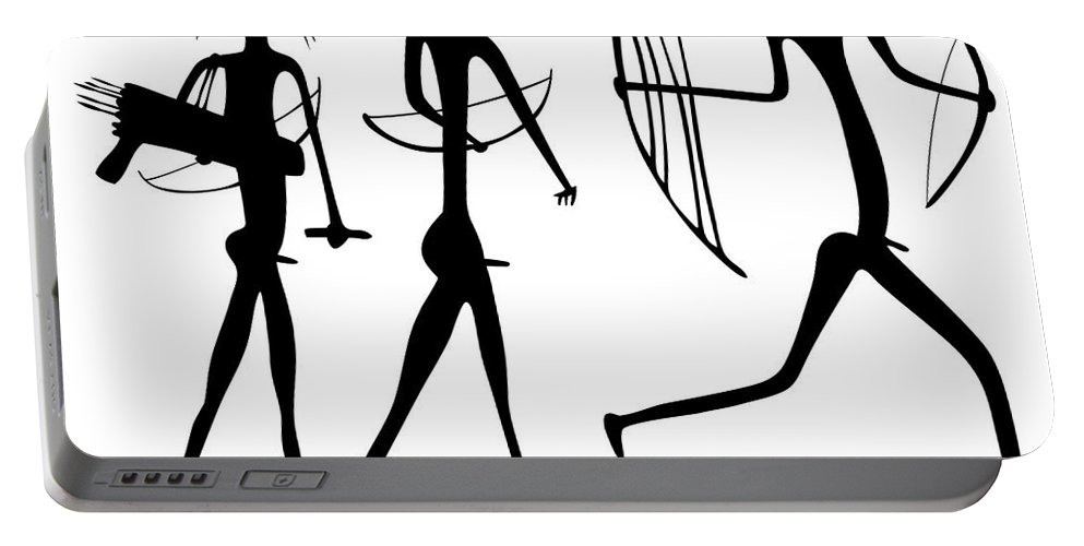 Savage Portable Battery Charger featuring the drawing Warriors - Primitive Art by Michal Boubin