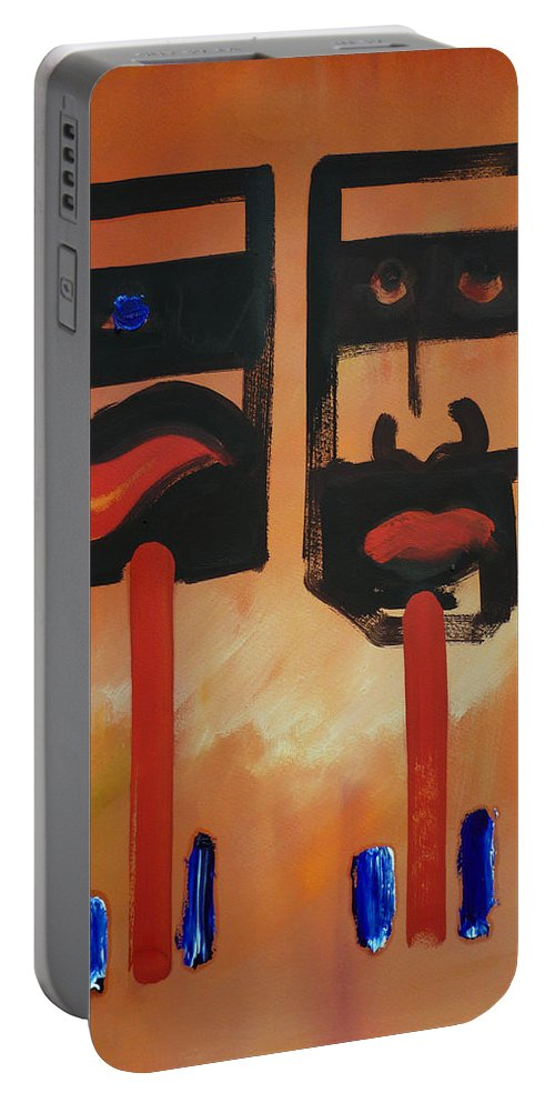 Warrior Portable Battery Charger featuring the painting Warriors by Charles Stuart