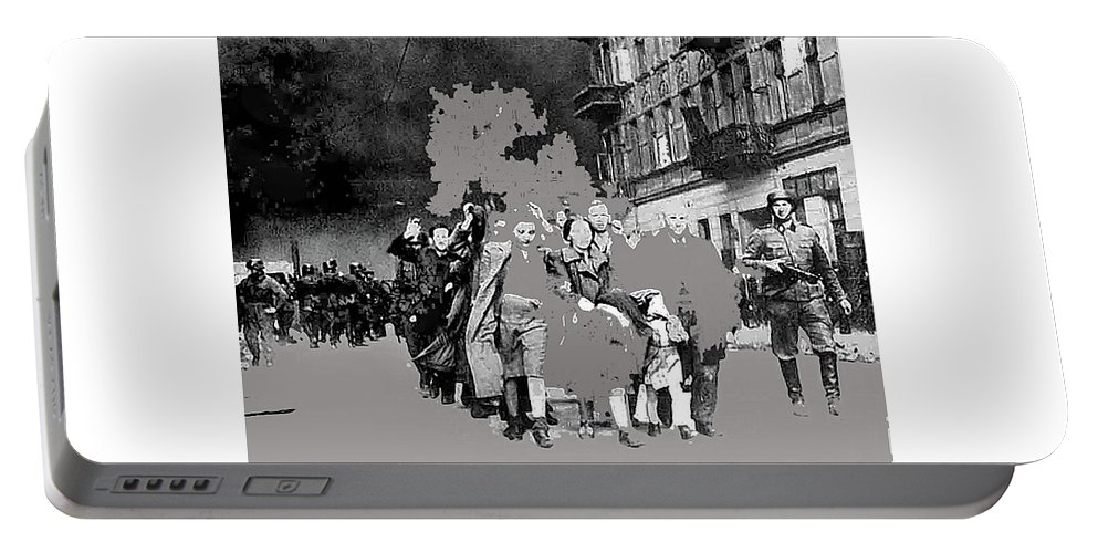 Warsaw Ghetto Uprising Number 1 1943 Color Added 2016 Portable Battery Charger featuring the photograph Warsaw Ghetto Uprising Number 1 1943 Color Added 2016 by David Lee Guss