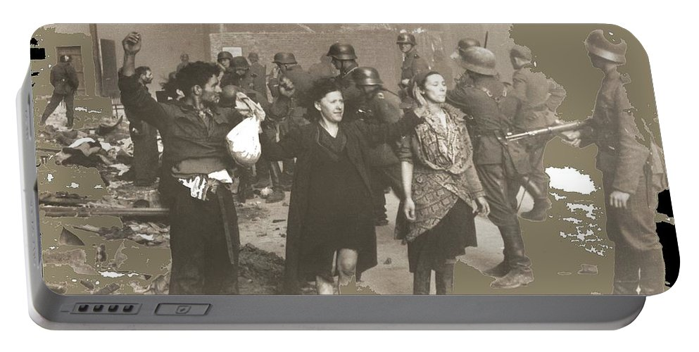 Warsaw Ghetto Uprising Number 2 1943 Color Added 2016 Portable Battery Charger featuring the photograph Warsaw Ghetto Uprising Number 2 1943 Color Added 2016 by David Lee Guss