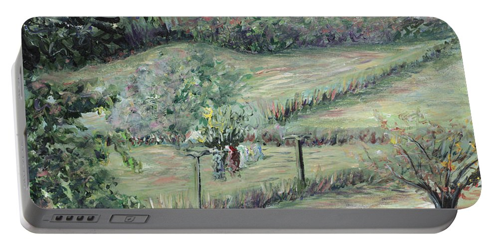 Landscape Portable Battery Charger featuring the painting Washday In Provence by Nadine Rippelmeyer