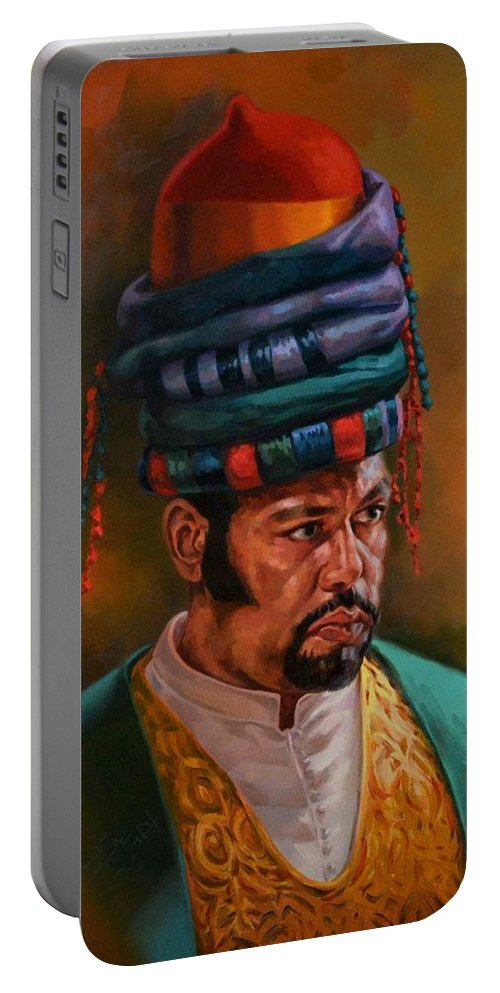 Oriental Portable Battery Charger featuring the painting Bashbozuk by Ahmed Bayomi