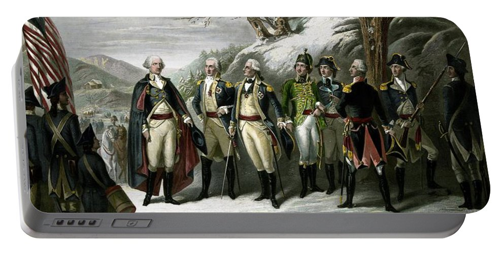 George Washington Portable Battery Charger featuring the painting Washington and His Generals by War Is Hell Store