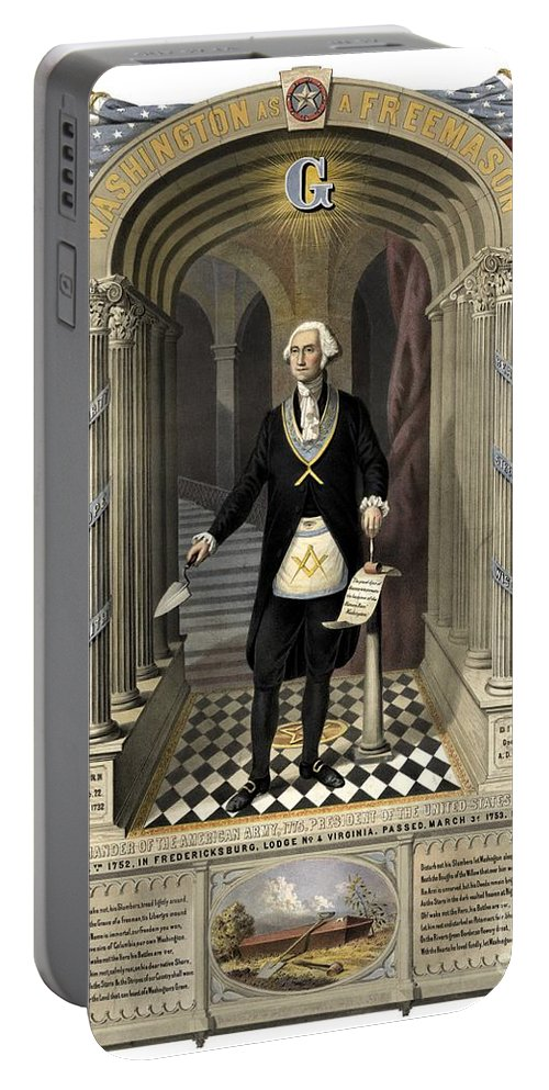 Masonic Portable Battery Charger featuring the drawing Washington As A Freemason by Freemason Art