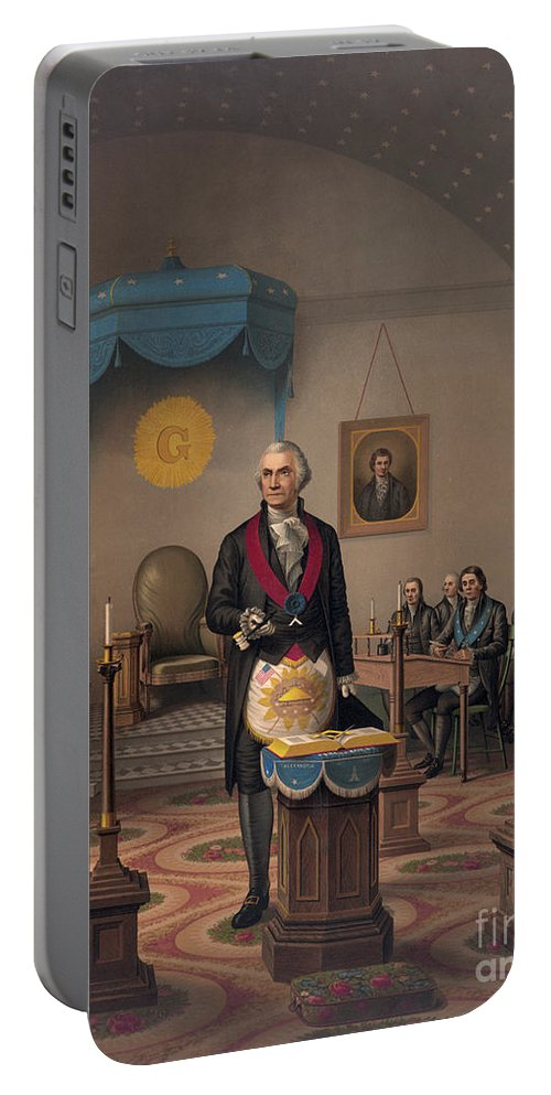 Washington Portable Battery Charger featuring the painting Washington As A Master Mason by American School