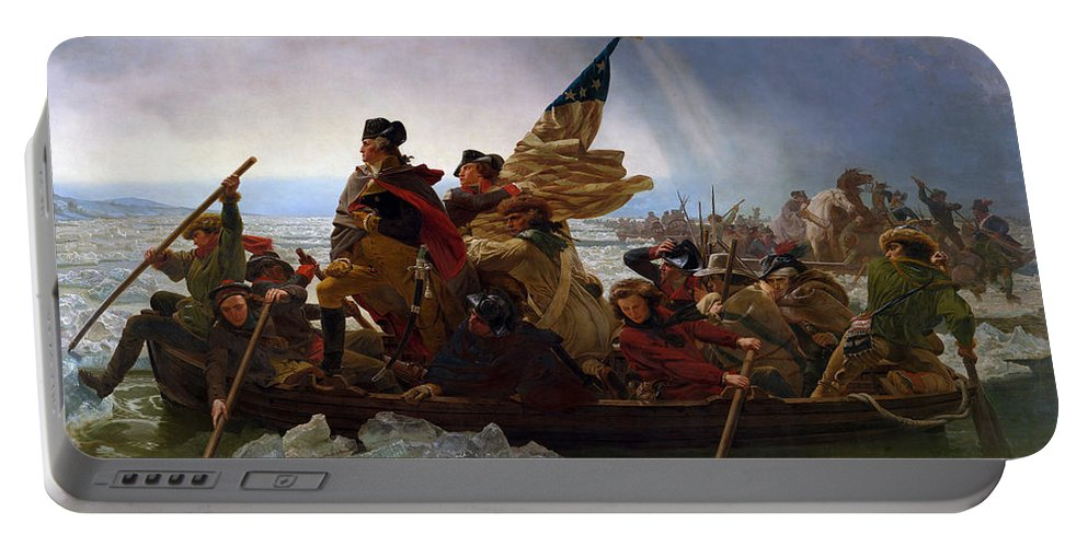 Washington Crossing The Delaware Portable Battery Charger featuring the painting Washington Crossing the Delaware Painting - Emanuel Gottlieb Leutze by War Is Hell Store