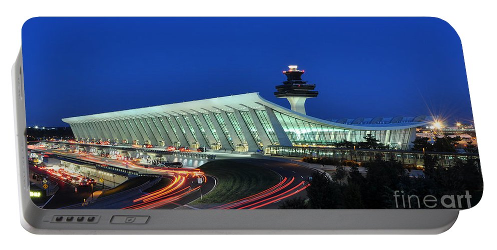 Main Terminal Of Washington Dulles International Airport At Dusk In Virginia Portable Battery Charger featuring the photograph Washington Dulles International Airport At Dusk by Paul Fearn