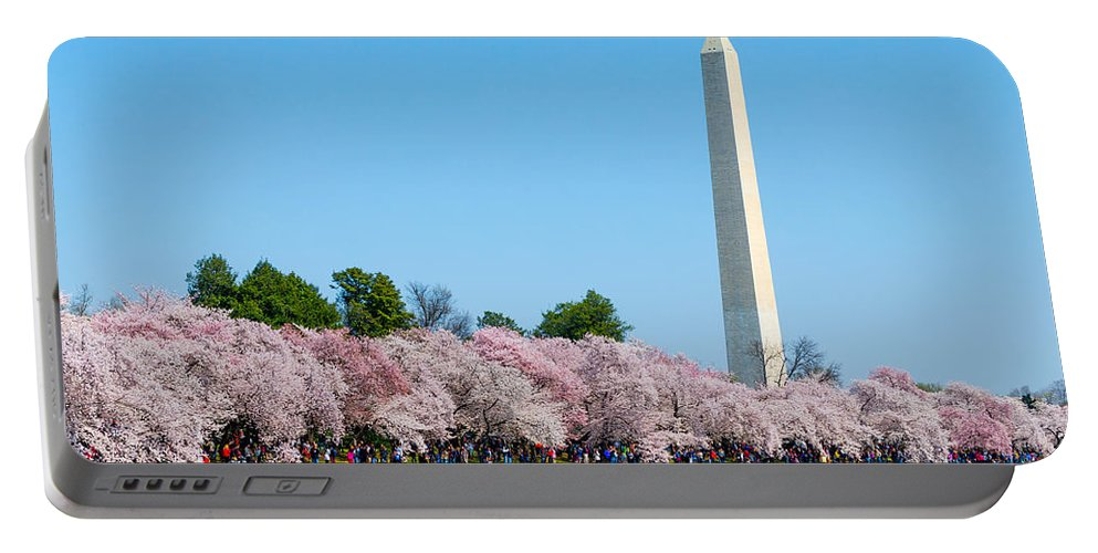 Japanese Flowering Cherry Tree Portable Battery Charger featuring the photograph Washington Monument And Cherry Blossoms by SR Green