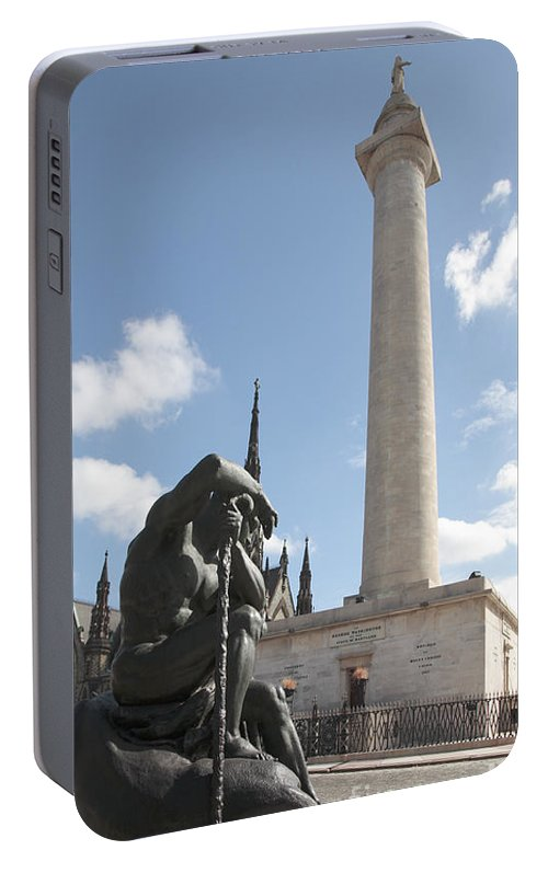 Baltimore Portable Battery Charger featuring the photograph Washington Monument In Baltimore by William Kuta