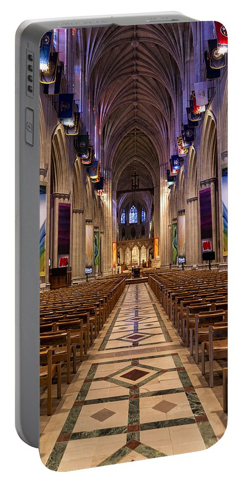 Washington National Cathedral Portable Battery Charger featuring the photograph Washington National Cathedral Interior by Belinda Greb