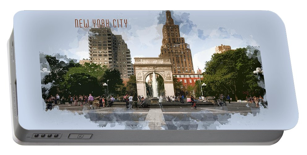 Architecture Portable Battery Charger featuring the painting Washington Square Park Greenwich Village With Text New York City by Elaine Plesser