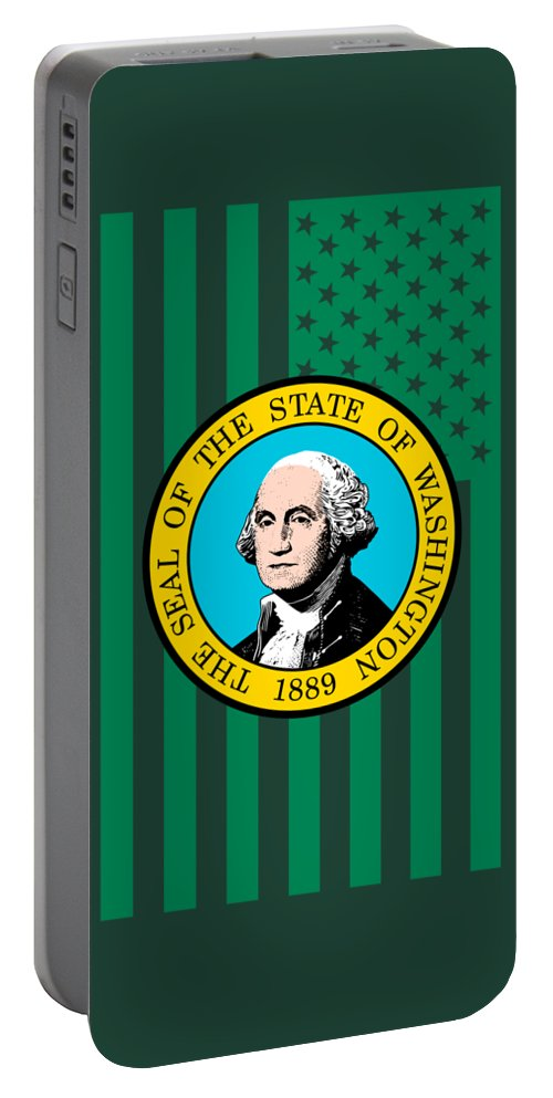 Washington Portable Battery Charger featuring the digital art Washington State Flag Graphic Usa Styling by Garaga Designs