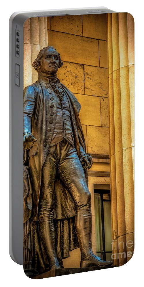 American Flag Portable Battery Charger featuring the photograph Washington Statue - Federal Hall #2 by Julian Starks